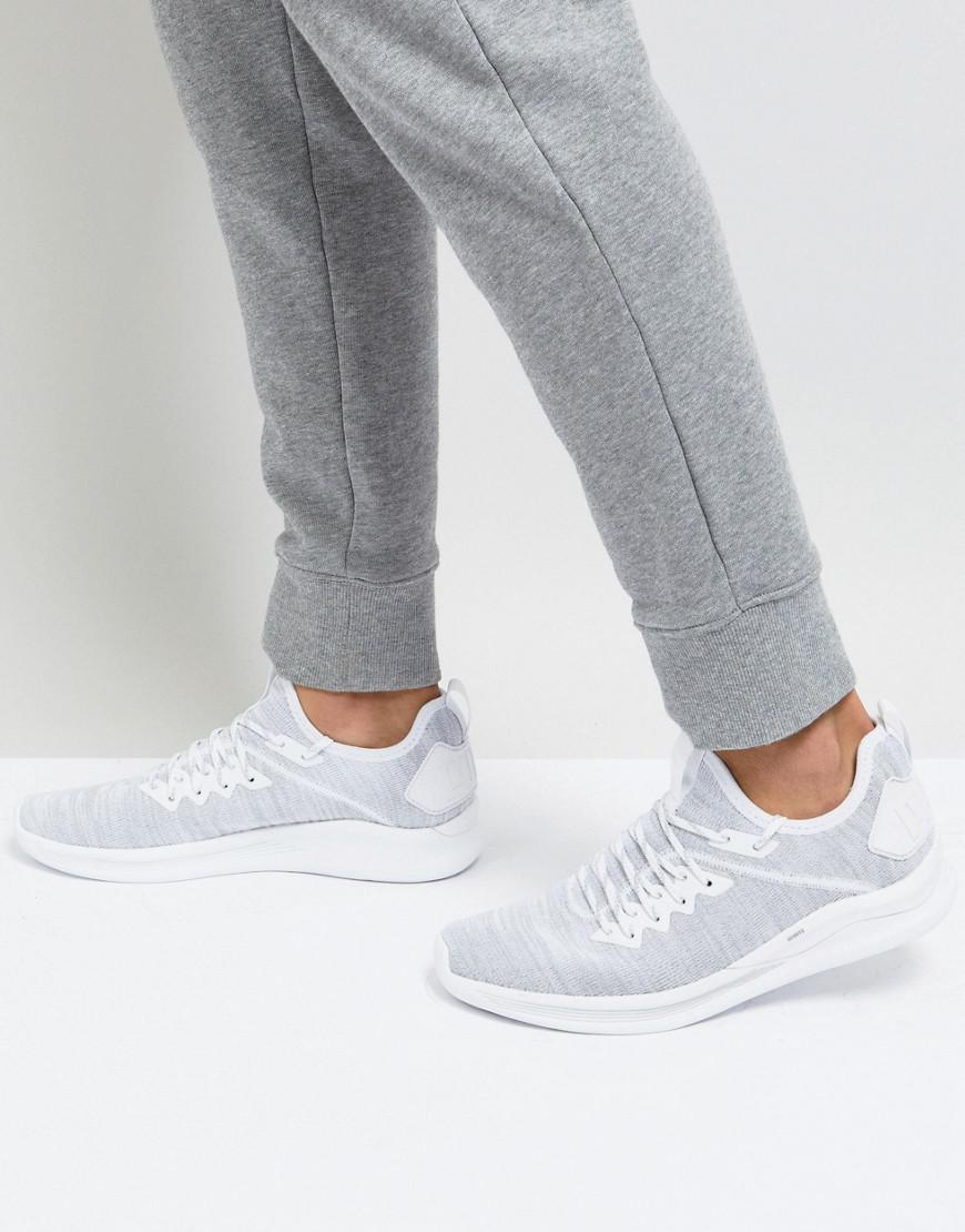d0dea25934b3 PUMA Ignite Flash Evo Knit Trainers In White 19050803 in White for ...