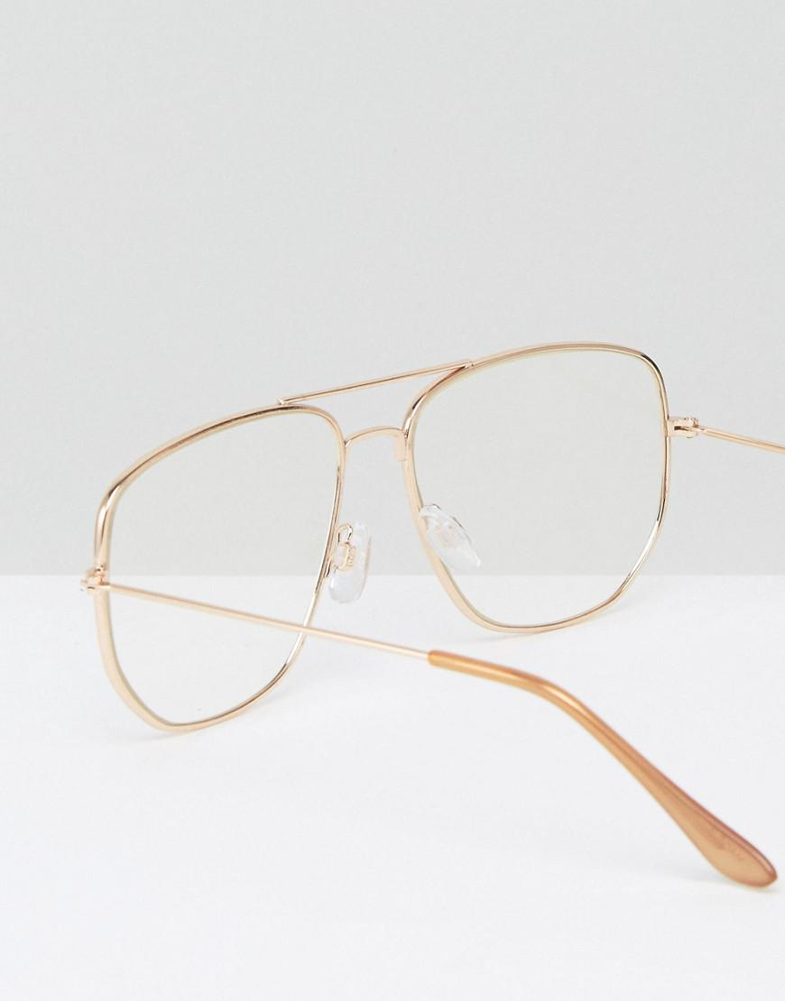 816311ee4a6 Lyst - ASOS Geeky Clear Lens Square Aviator Glasses in Metallic