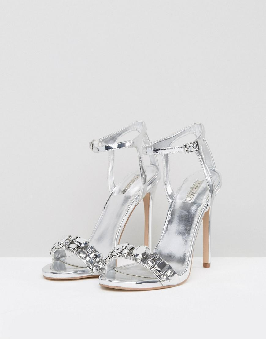 d72c073f3733 Carvela Kurt Geiger Gail Silver Heeled Sandals in Metallic - Lyst