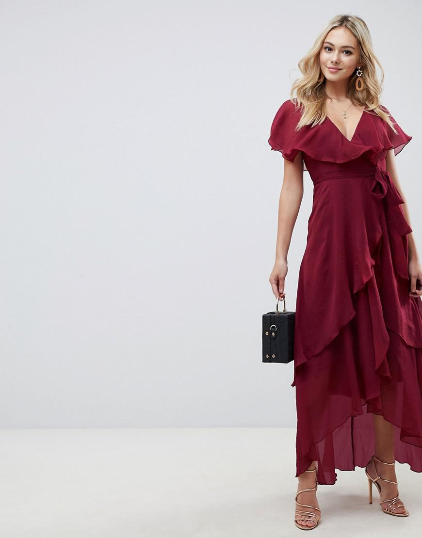 8e828e5239 Lyst - ASOS Cape Back Dipped Hem Maxi Dress in Red