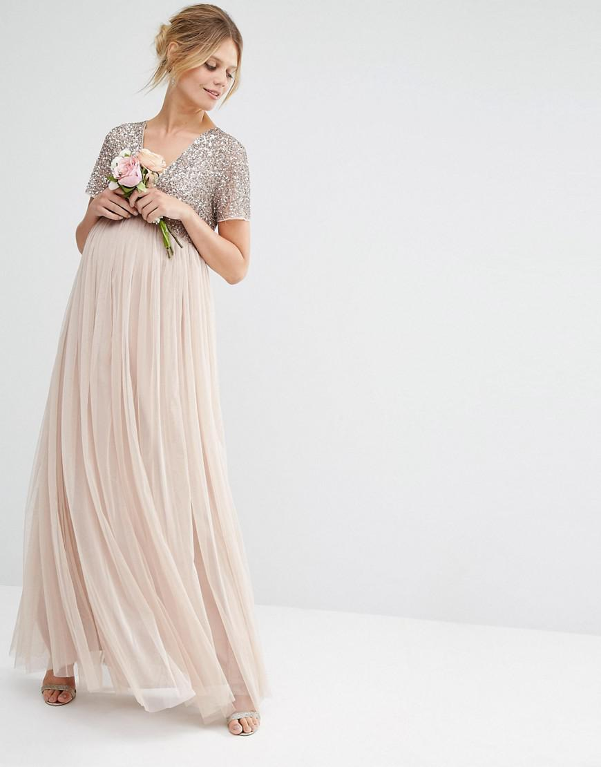 abf4aed383e5d Maya Maternity V Neck Maxi Tulle Dress With Tonal Delicate Sequins ...