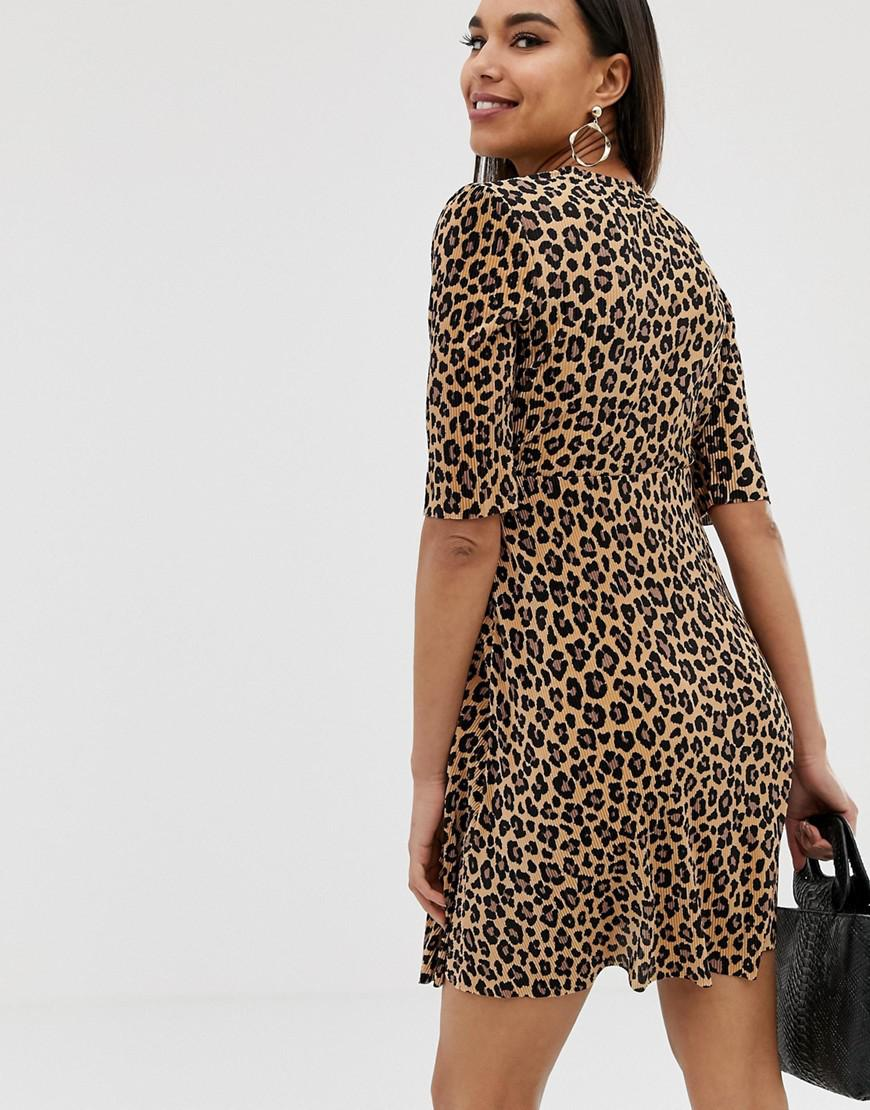 92331177b610 Lyst - ASOS Asos Design Maternity Leopard Print Plisse Mini Dress With  Button Detail