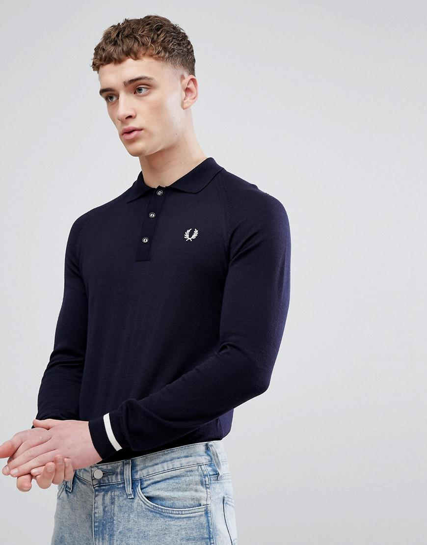 fa8b1ff86 Fred Perry Reissues Tipped Cuff Long Sleeve Polo In Navy in Blue for ...