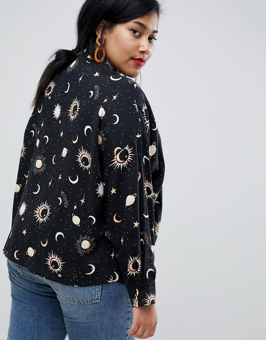 f71af1cf ASOS Asos Design Curve Cropped Long Sleeve Shirt In Moon And Star Print in  Blue - Lyst