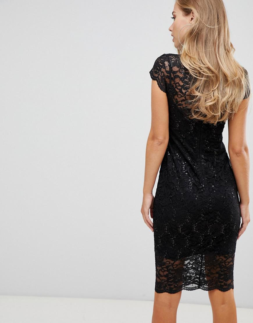 f85e66b91ea Flounce London Scalloped Sequin Lace Midi Dress With Cap Sleeve In Black in  Black - Lyst