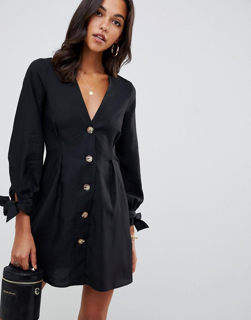 f9205f95d9a27 Lyst - ASOS Button Through Mini Skater Dress With Tie Sleeves in Black