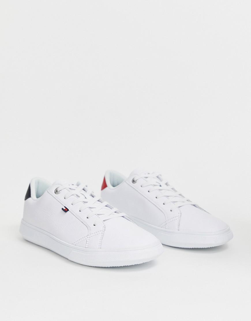 cb004f5f24a1e5 Lyst - Tommy Hilfiger Essential Leather Icon Logo Trainer In White ...