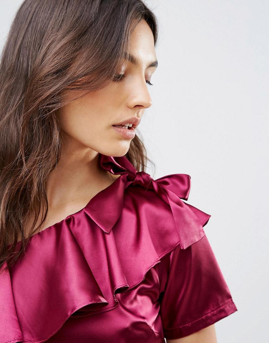 ddb0c0dc3cb74b Lyst - Madam Rage One Shoulder Satin Dress With Bow Detail in Purple