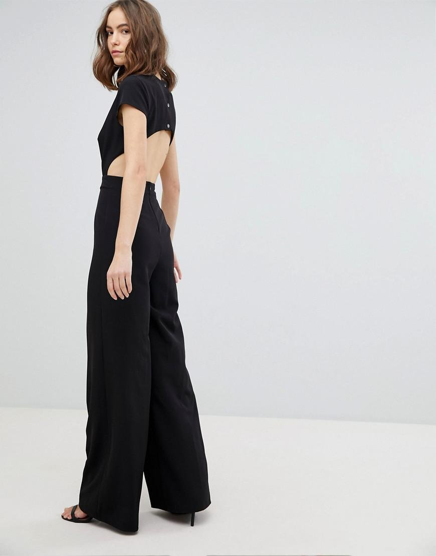 a95dbb1b249 Lyst - ASOS Plunge Neck Jumpsuit With Wide Leg And Open Back in Black