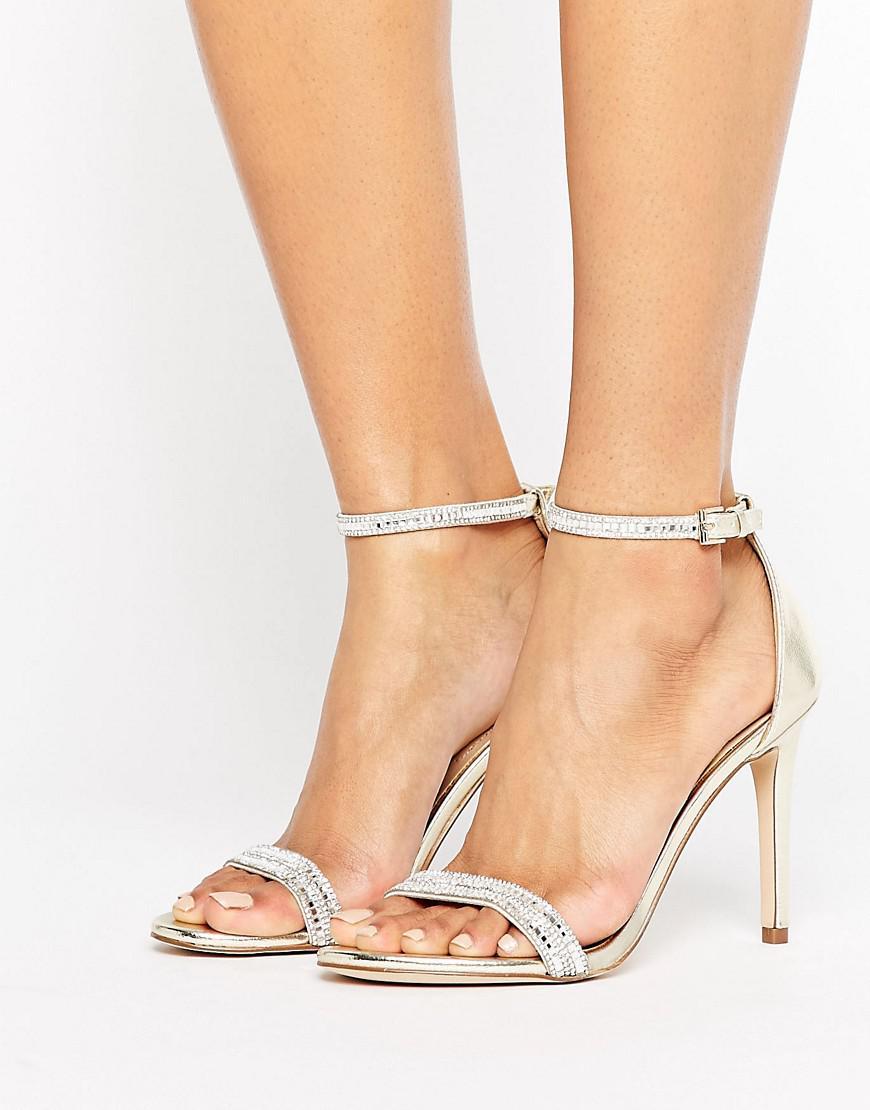 3e91fd05e6f0 ALDO Ciasa Gold Two Part Heeled Sandals in Metallic - Lyst