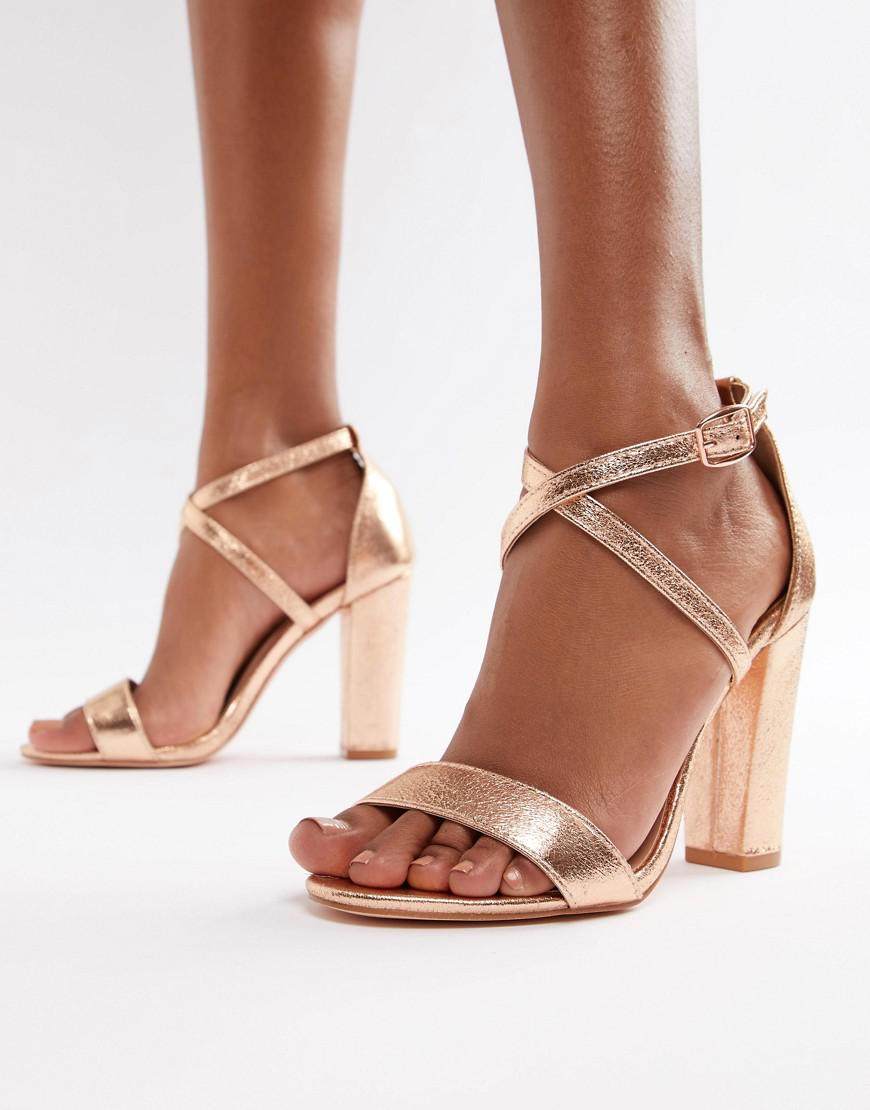 c50b4ec9577 Glamorous. Women s Metallic Cross Strap Block Heel Sandals In Rose Gold