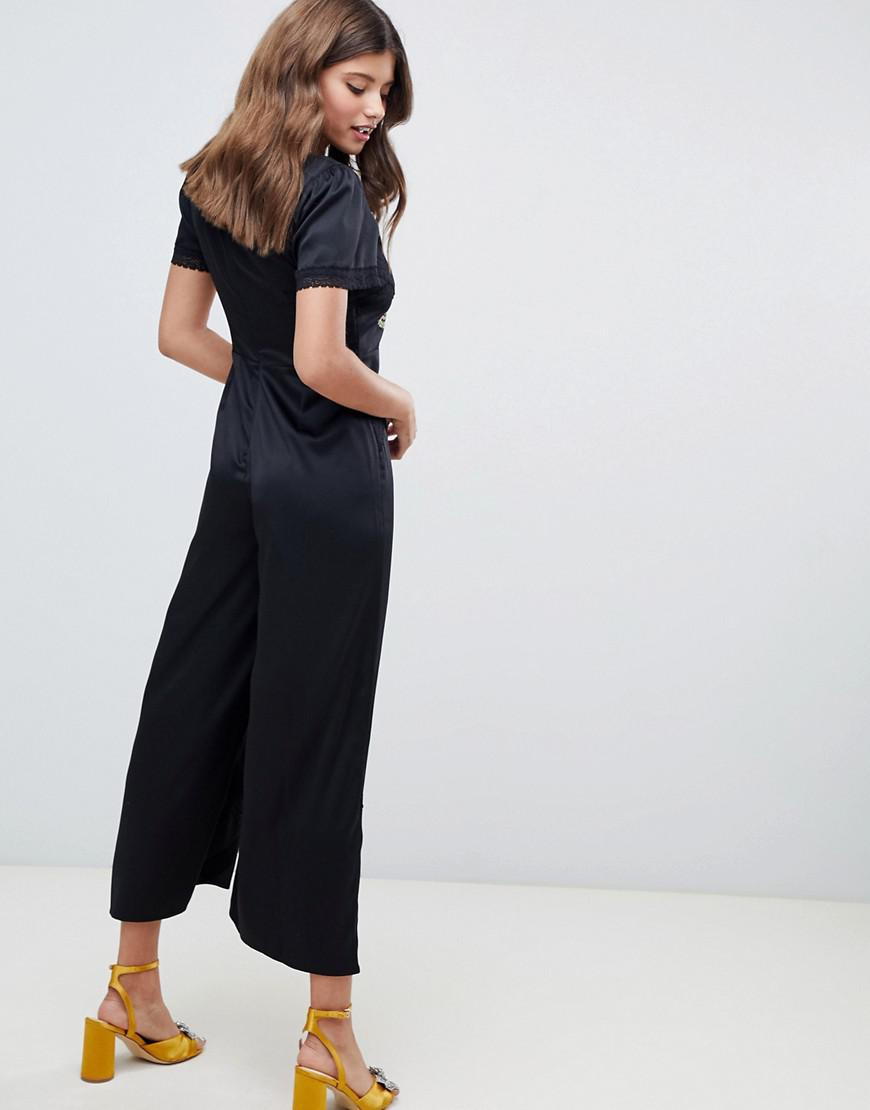 d227aabe59d92 Lyst - ASOS Tea Jumpsuit With Embroidery And Lace Insert in Black