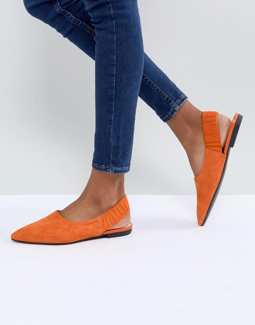 51c6610f457 Vagabond Katlin Orange Suede Sling Back Pointed Flat Shoes in Orange ...