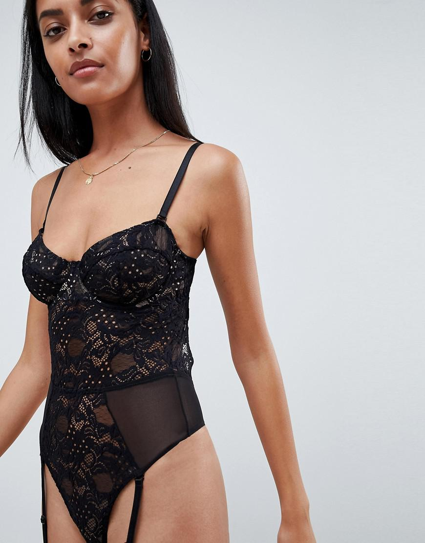 3094ad58a84e3 Lyst - ASOS Khloe Lace Underwire Bodysuit With Removable Straps in Black