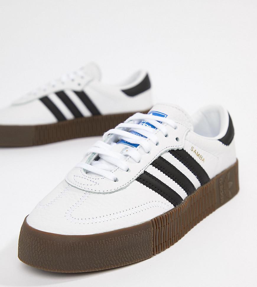 c0465f77d8d adidas Originals. Women's Samba Rose Sneakers In White With Dark Gum Sole