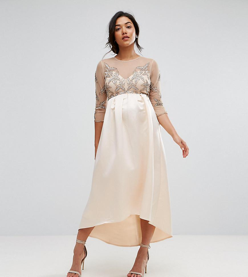 a8f1e1240bf5b Maya Maternity Embellished Bodice Midi Dress With Satin Hi Low Hem ...