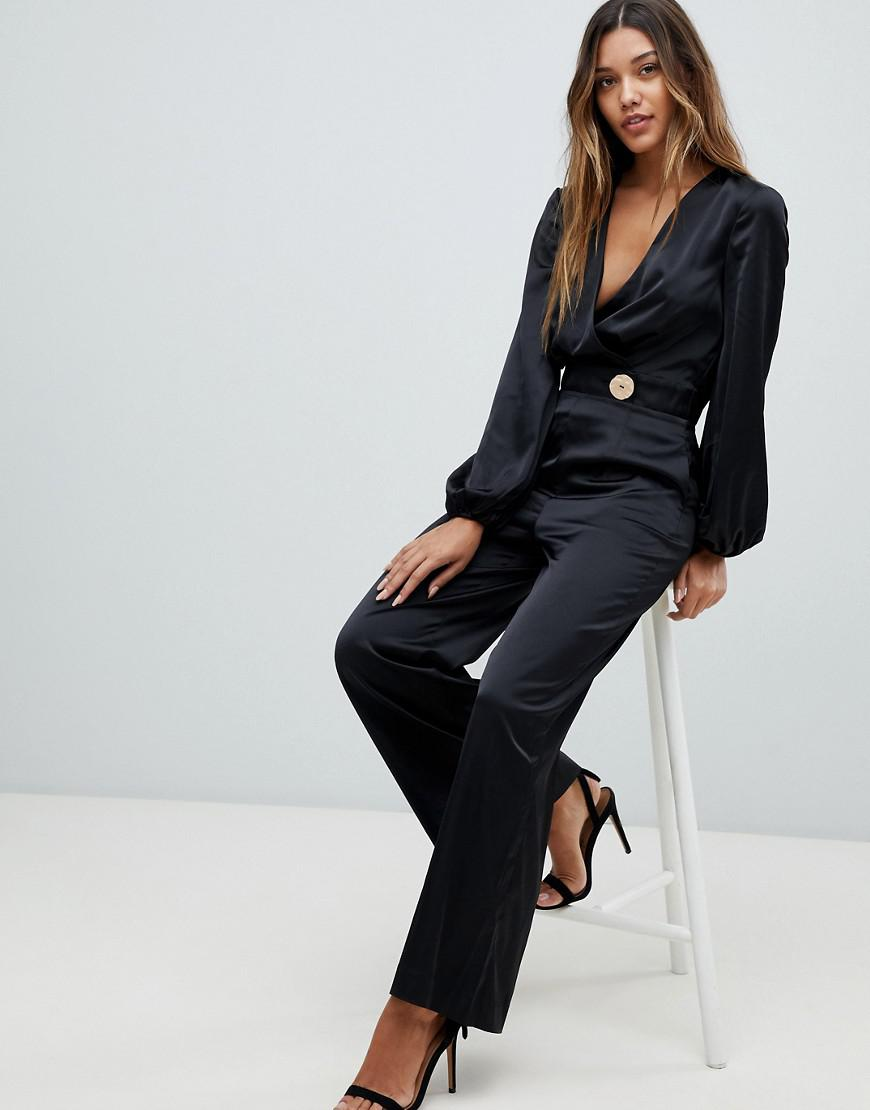 940436b384 Finders Keepers Pompeii Wrap Jumpsuit in Black - Lyst
