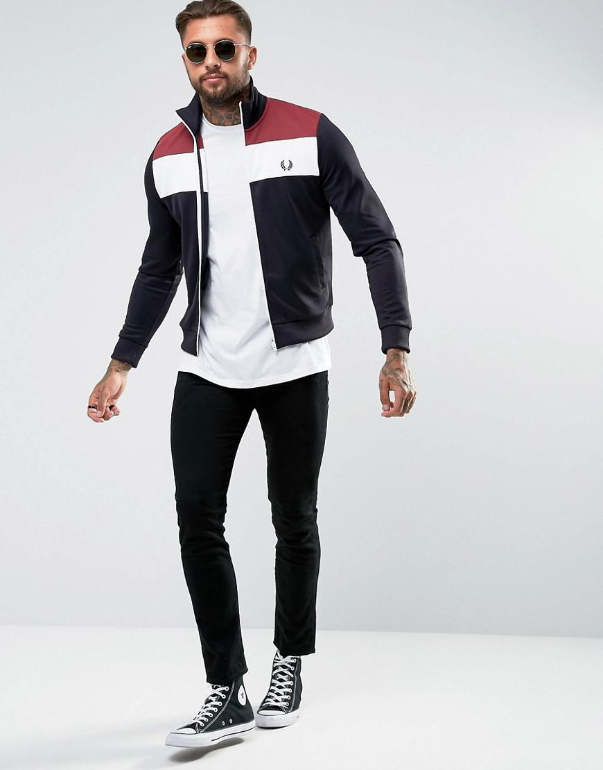abad641cb578 Lyst - Fred Perry Sports Authentic Color Block Track Jacket In Navy ...