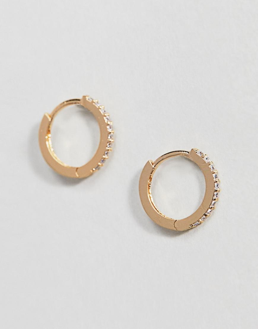 a868ec670 Orelia Gold Plated Small Crystal Huggie Hoop Earrings in Metallic - Lyst