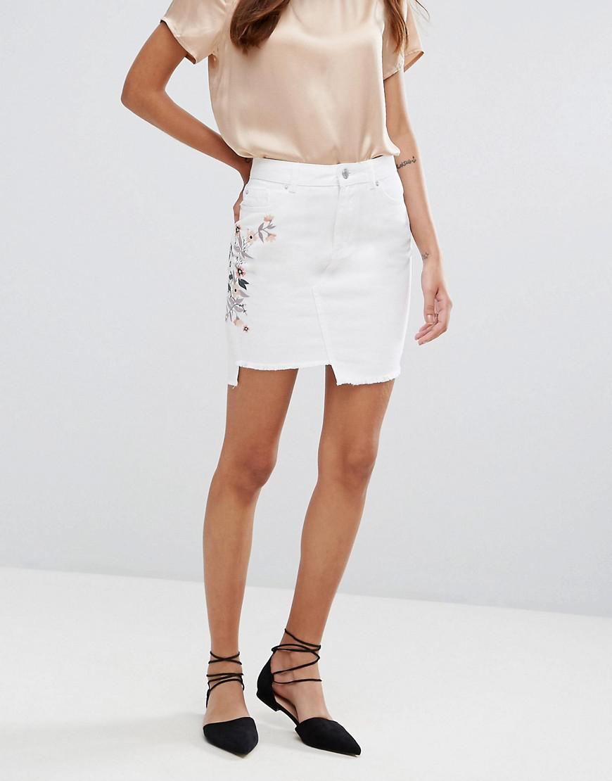 Lyst Miss Selfridge Stepped Hem Embroidered Mini Skirt