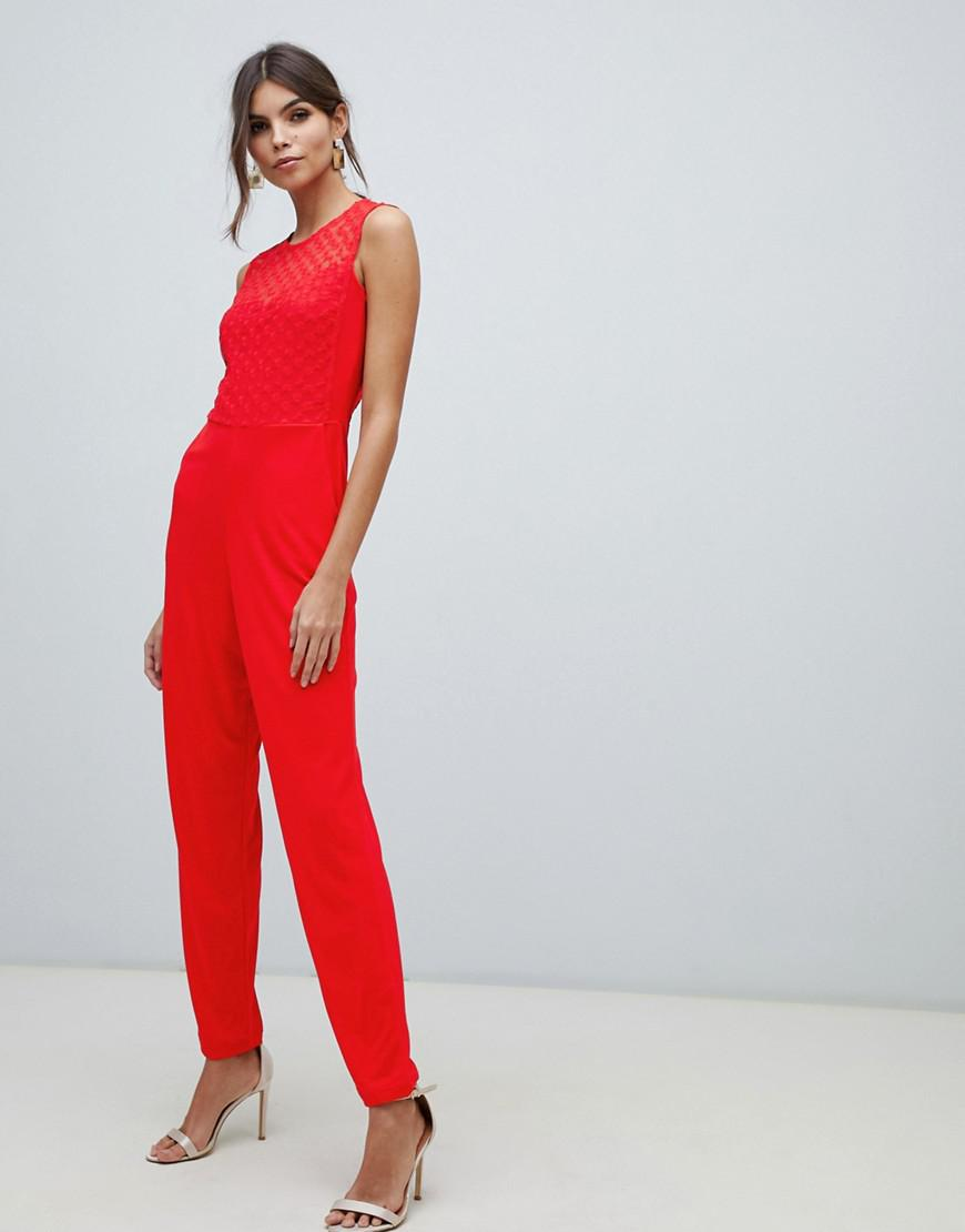 fefb198c23 French Connection Fitted Jumpsuit in Red - Lyst