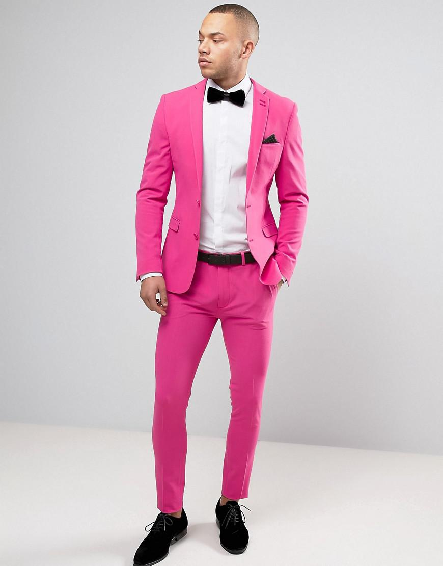 Lyst - Asos Super Skinny Prom Suit Trousers In Pink in Pink for Men