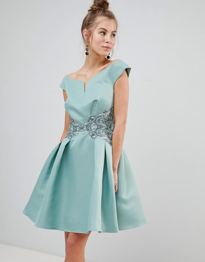 Lyst - Little Mistress Bardot Prom Dress With Metallic Embroidered ...