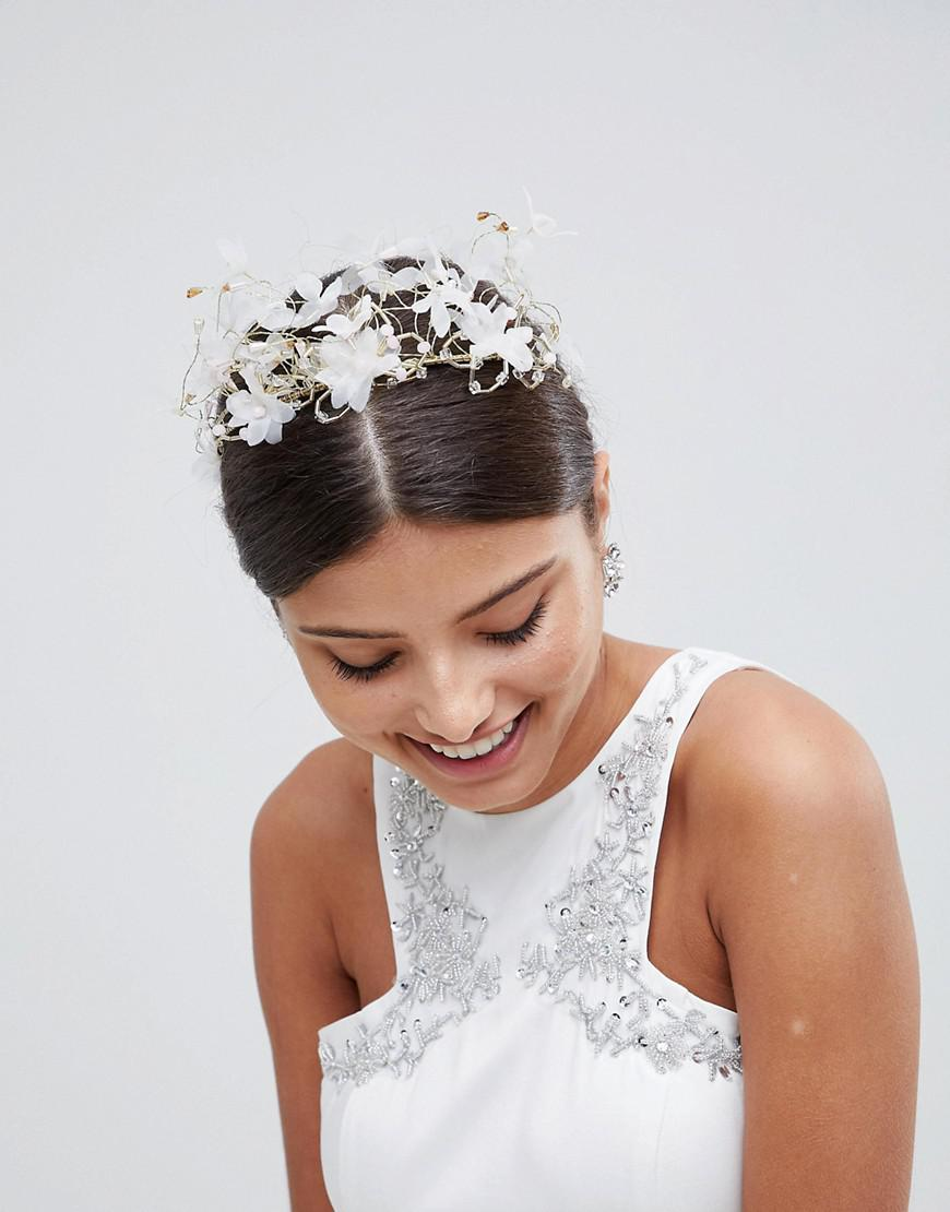 Lyst Loverocks London Ethereal Floral Bridal Hair Crown In White