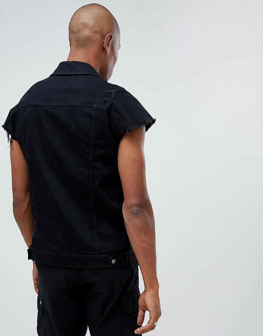 45858528499235 Sixth June Oversized Sleeveless Denim Jacket in Black for Men - Lyst