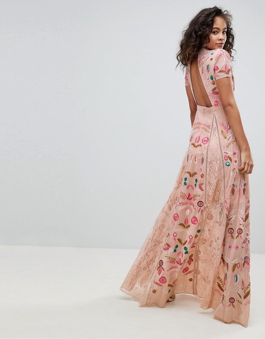 Frock and Frill Allover Embroidered Plunge Front Maxi Dress in Pink - Lyst db9ef1cdf