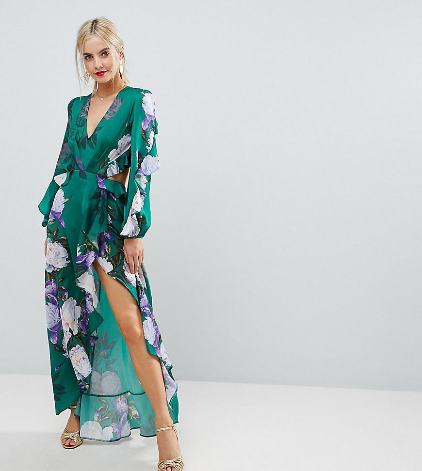 88ea404e87a6 ASOS Ruffle Maxi Dress In Green Floral Print in Green - Lyst