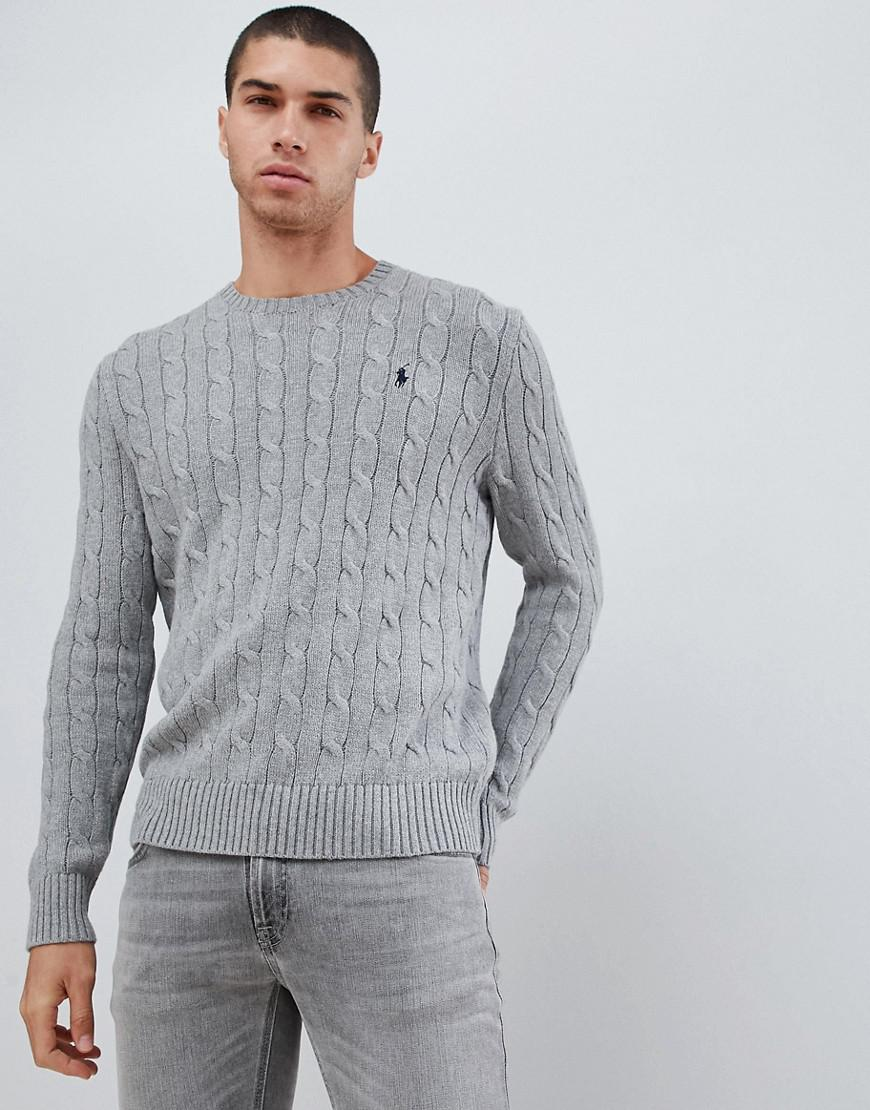 d368b3b2c945 Polo Ralph Lauren Cable Cotton Knit Jumper With Player Logo In Grey ...
