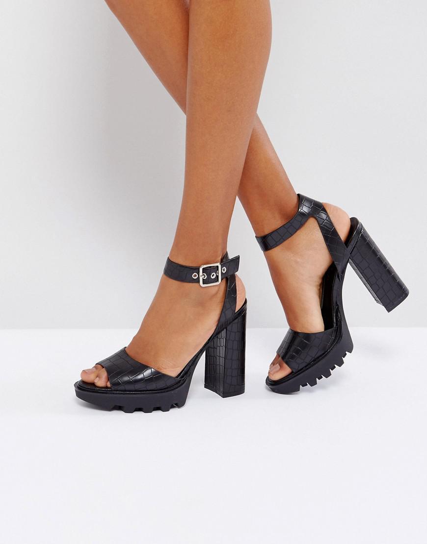 b1b167f91faf Lyst - Truffle Collection Platform Sandal in Black