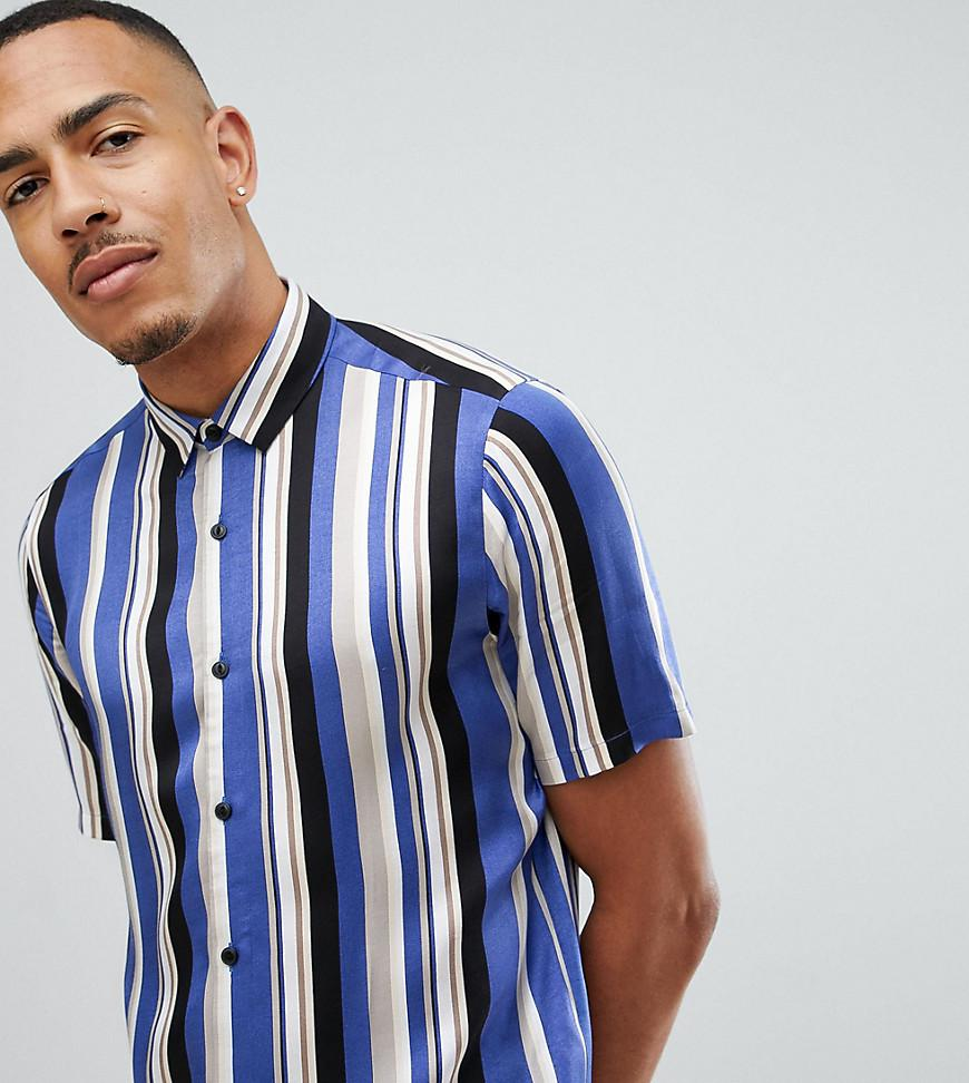 bf7554c2049 ASOS Tall Regular Fit Stripe Shirt in Blue for Men - Lyst