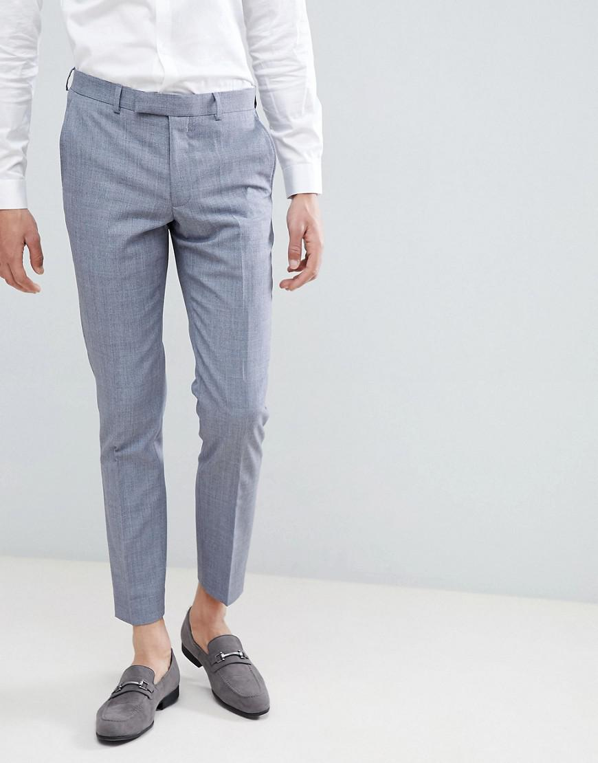 9a2a0bc84 Moss Bros Moss London Skinny Suit Pants In Blue Wool Mix in Blue for ...