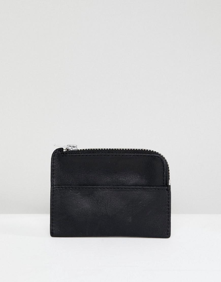 Leather Card Wallet - Black Weekday 5vcGGRf