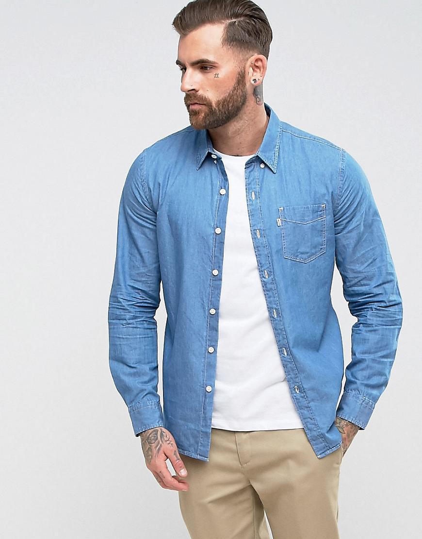 4f477b07185 Levi s Sunset One Pocket Denim Shirt Flat Stone Light Wash in Blue ...