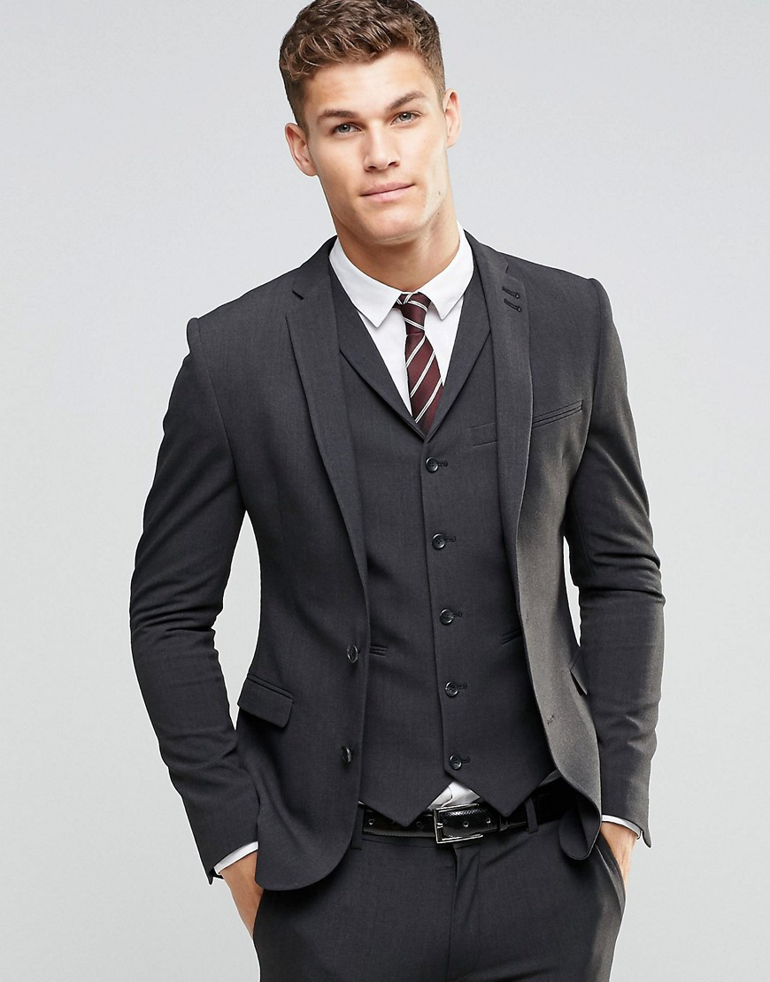 asos super skinny fit suit jacket in charcoal grey in. Black Bedroom Furniture Sets. Home Design Ideas