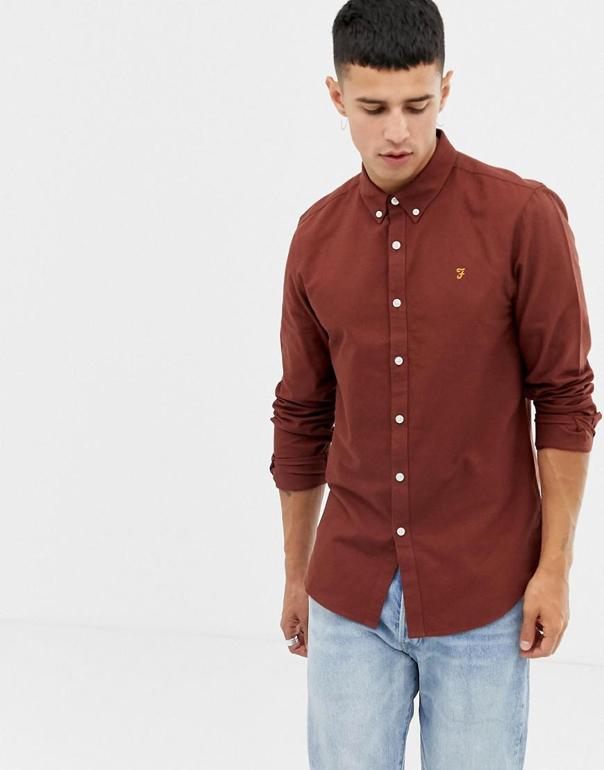 ba903377795 Lyst - Farah Brewer Slim Fit Oxford Shirt In Rust in Red for Men