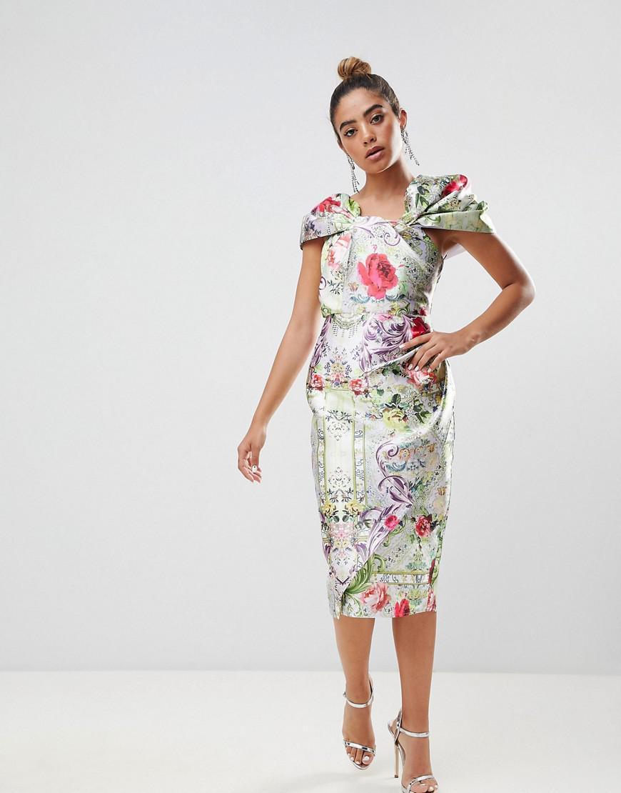 ffc671cf0924 ASOS. Women's Structured Twist Pencil Midi Dress In Postcard Print