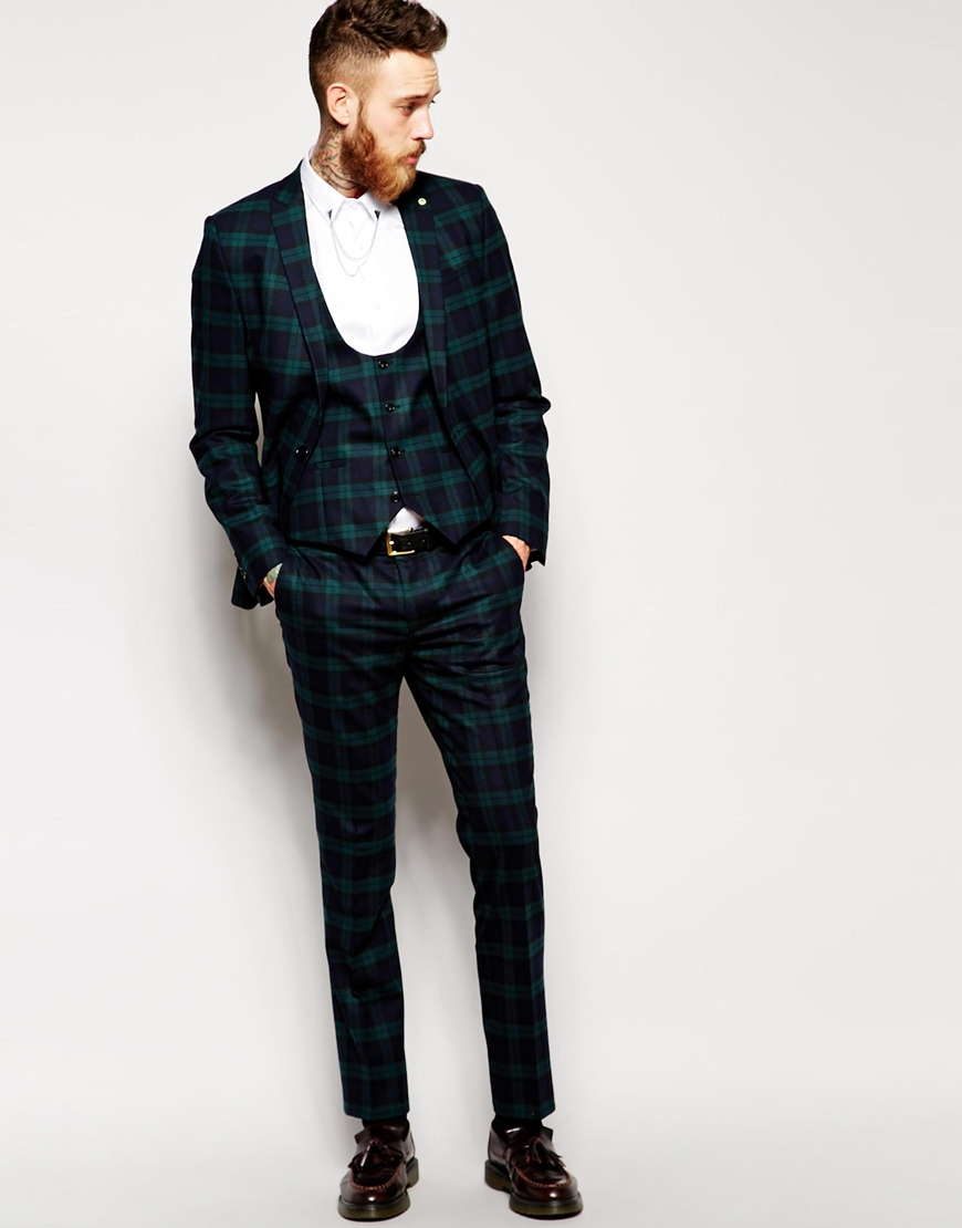 Noose and monkey Plaid Suit Jacket With Stretch In Super Skinny ...