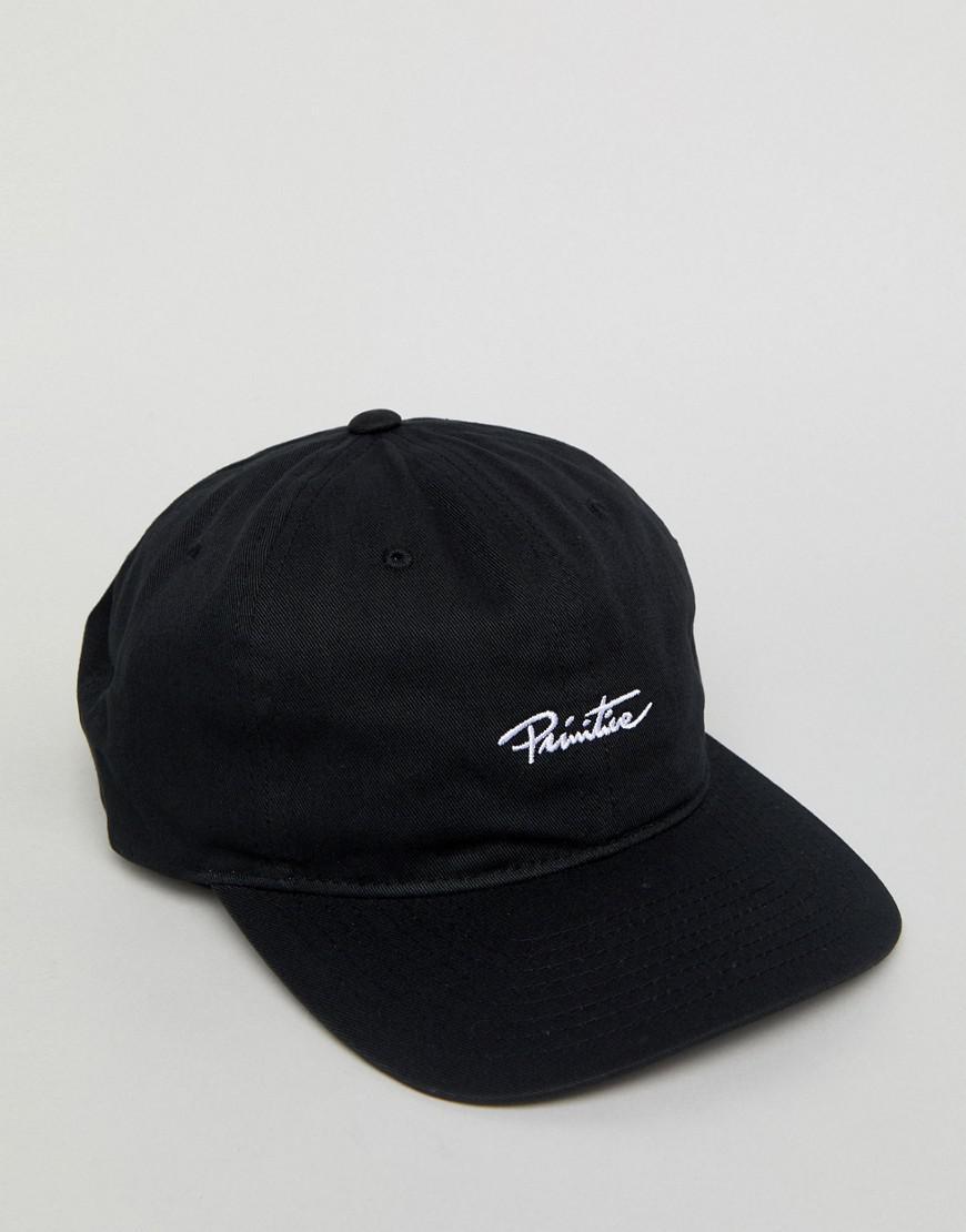 6 Panel Snapback Cap With Large Logo In Black - Black Primitive LOynQ