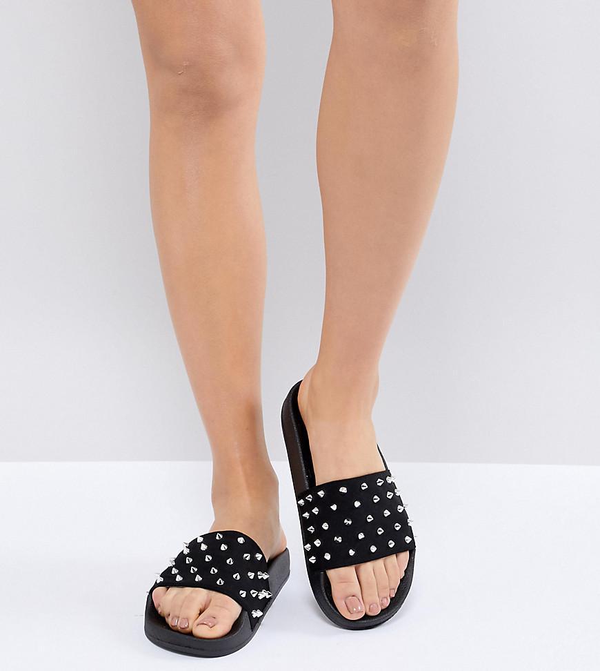 ASOS DESIGN Mews Studded Flat Shoes W8xlXLqF2