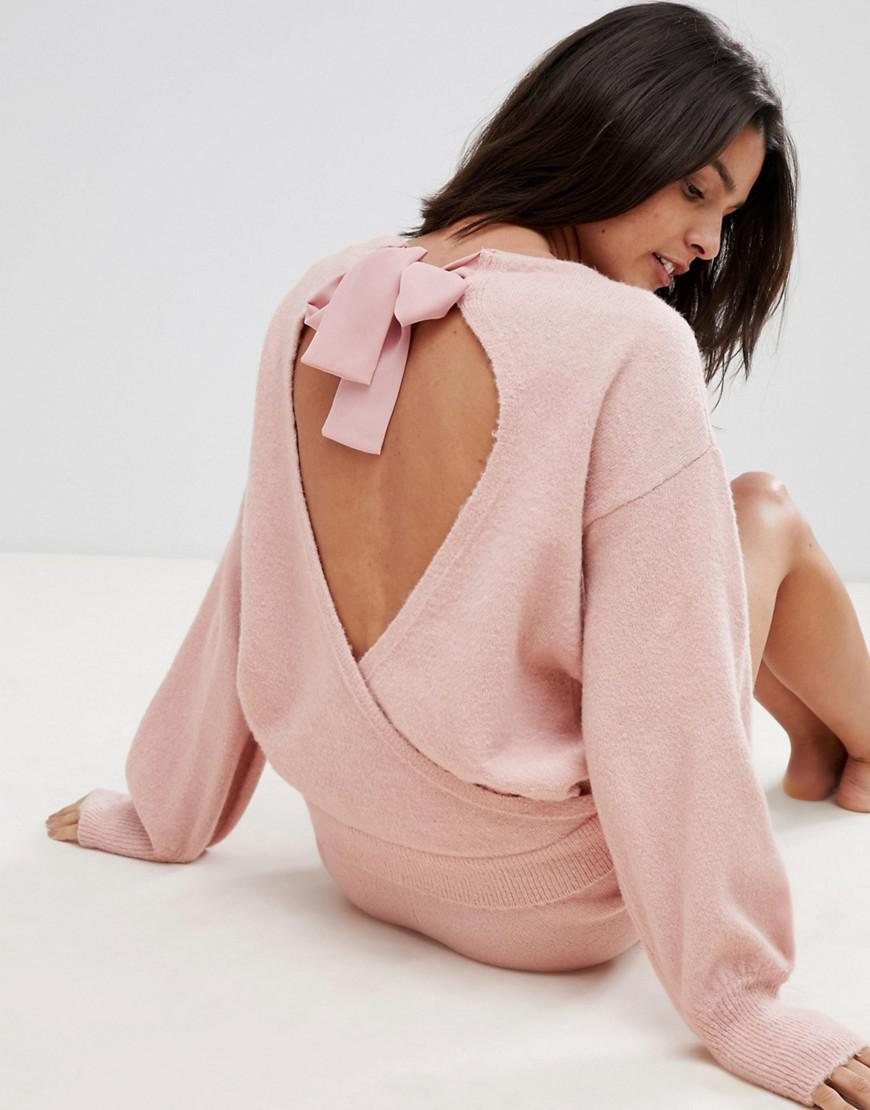 2c5ebcf300 Lyst - Micha Lounge Open Back Jumper With Bow Tie Neck Co-ord in Pink