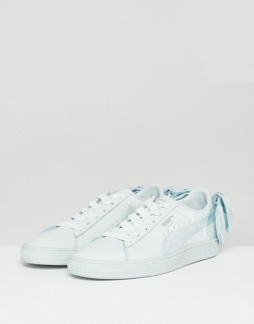 0d7db2993ed PUMA Suede Bow Trainers In Light Green in Gray - Lyst
