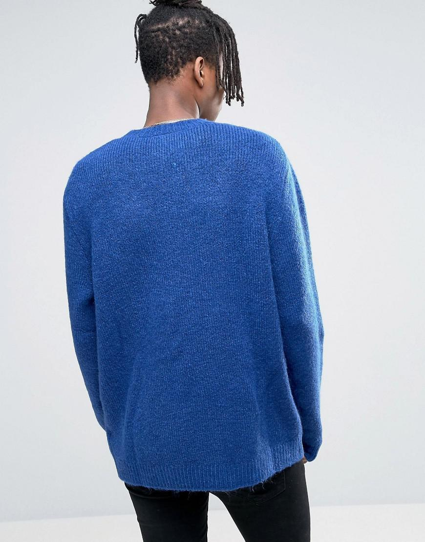Cheap monday Deprived Knit Half Cable Sweater in Blue for Men | Lyst