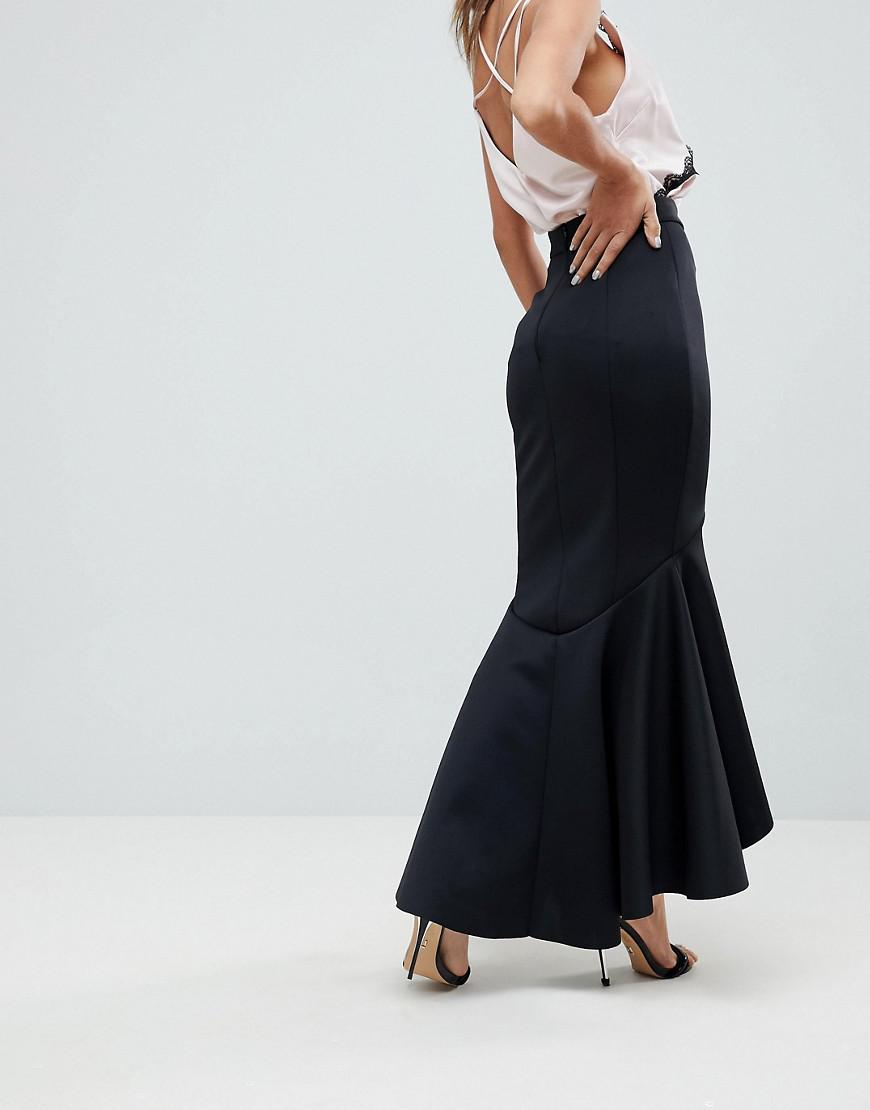 cf222b3d06 ASOS Scuba Fishtail Maxi Skirt in Black - Lyst
