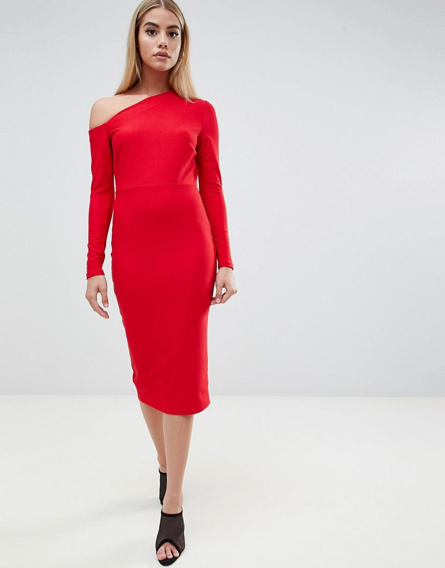 8ccd6aeeb49d Lyst - ASOS Midi Dress With Sweeping Neckline in Red