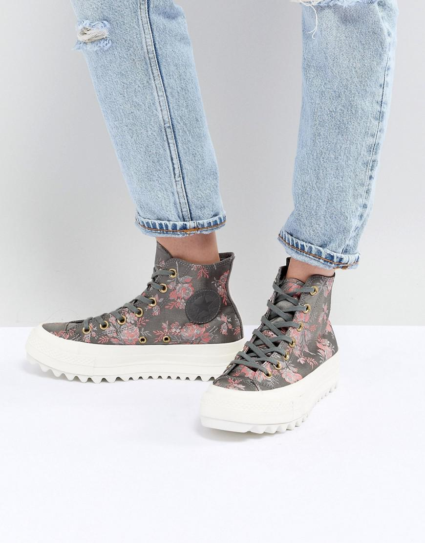 a6b21ae4a27a Lyst - Converse Chuck Taylor All Star Hi Lift Ripple Sneakers In Floral