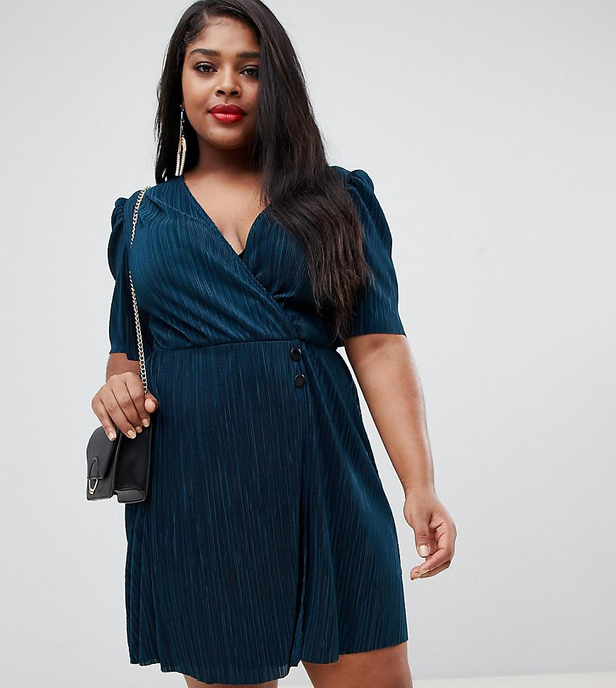 420d372ad3f3 ASOS. Women's Green Asos Design Curve Mini Plisse Dress With Button Detail